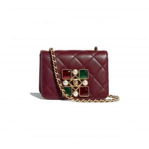 Chanel Burgundy Calfskin and Crystal Pearls Small Flap Bag