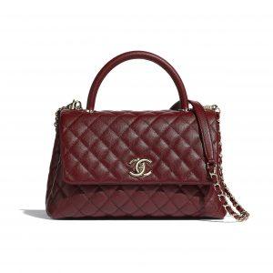 Chanel Burgundy Grained Calfskin Coco Handle Bag