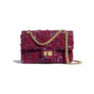 Chanel Burgundy:Blue:Gray Tweed Small Reissue 2.55 Bag