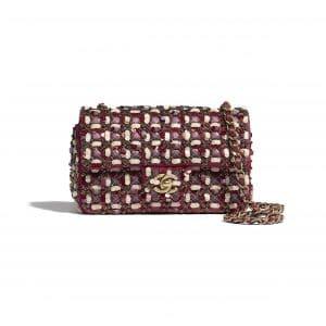 Chanel Burgundy:Pink:White Satin:Sequins:Glass Pearls Mini Flap Bag