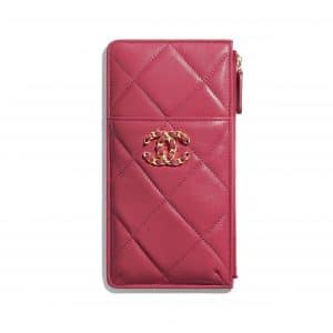 Chanel Dark Pink Lambskin Chanel 19 Phone and Card Holder