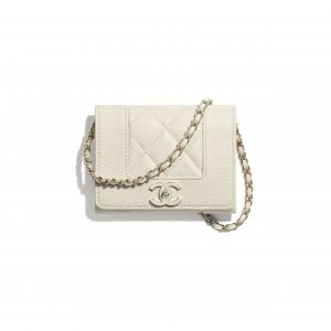 Chanel Ecru Grained Lambskin Flap Coin Purse with Chain