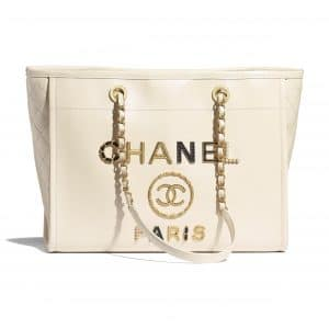 Chanel Ecru Shiny Calfskin and Crystal Pearls Deauville Shopping Bag
