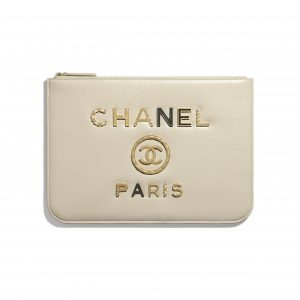 Chanel Ecru Shiny Calfskin:Crystal Pearls:Strass Deauville Pouch