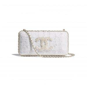 Chanel Ecru Tweed Evening Bag