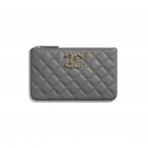 Chanel Gray Grained Calfskin Chanel 19 Small Pouch