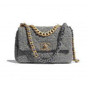Chanel Gray Wool Tweed Chanel 19 Flap Bag