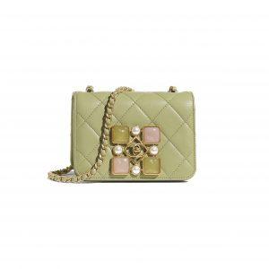 Chanel Green Calfskin and Crystal Pearls Small Flap Bag