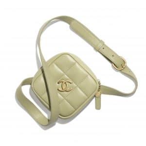 Chanel Green Diamond Belt Coin Purse
