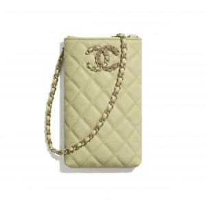 Chanel Green Grained Calfskin Chanel 19 Phone Holder with Chain
