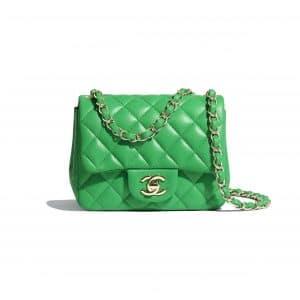Chanel Green Square Mini Classic Flap Bag