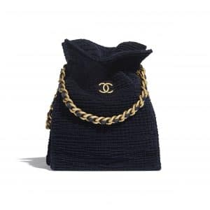 Chanel Navy Blue Cotton Tweed Shopping Bag