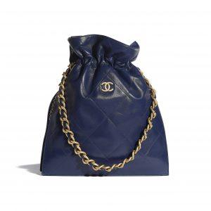 Chanel Navy Blue Shiny Lambskin Large Shopping Bag