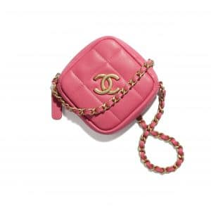 Chanel Pink Diamond Clutch with Chain