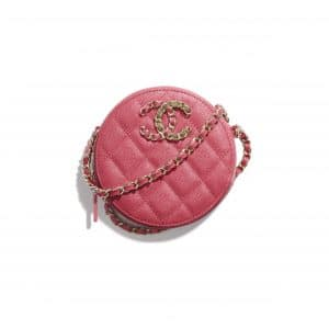 Chanel Pink Grained Calfskin Chanel 19 Clutch with Chain