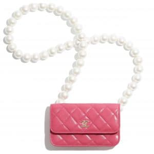 Chanel Pink Lambskin:Imitation Pearls Clutch with Chain