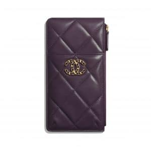 Chanel Purple Shiny Goatskin Chanel 19 Phone and Card Holder