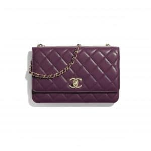 Chanel Purple Trendy CC Wallet on Chain