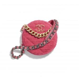 Chanel Raspberry Pink Wool Tweed Chanel 19 Clutch with Chain