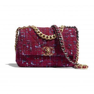 Chanel Raspberry Pink Wool Tweed Chanel 19 Flap Bag