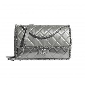 Chanel Silver Metallic Calfskin Large Flap Bag
