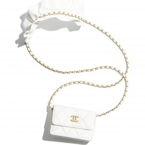 Chanel White Bag Romance Flap Card Holder with Chain
