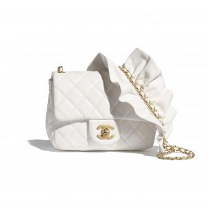 Chanel White Bag Romance Square Mini Flap Bag