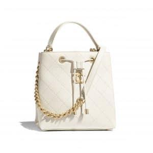 Chanel White Grained Calfskin Drawstring Bag