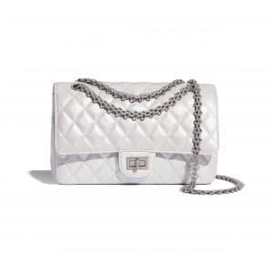 Chanel White Iridescent Lambskin Reissue 2.55 225 Bag