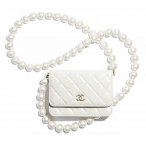 Chanel White Lambskin:Imitation Pearls Mini Wallet on Chain