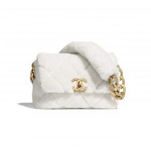 Chanel White Shearling Lambskin Flap Bag