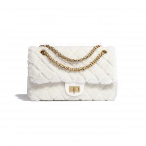 Chanel White Shearling Lambskin Reissue 2.55 225 Bag