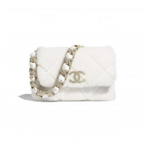 Chanel White Shearling Lambskin and Strass Flap Bag