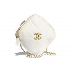 Chanel White Small Diamond Bag