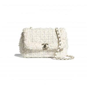 Chanel White Tweed Small Flap Bag