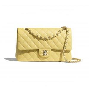 Chanel Yellow Medium Classic Flap Bag