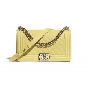 Chanel Yellow Old Medium Boy Chanel Flap Bag