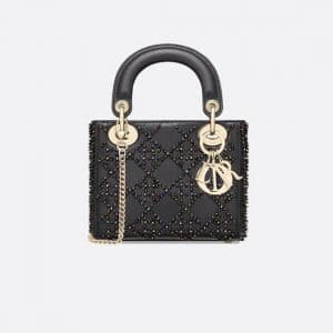 Dior Black Beaded Mini Lady Dior Bag