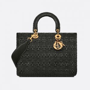 Dior Black Braided Cannage Lambskin Large Lady Dior Bag