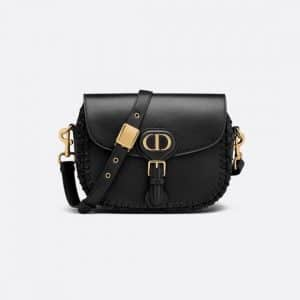 Dior Black Calfskin with Whipstitched Seams Medium Bobby Bag