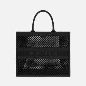 Dior Black Mesh Embroidery Book Tote Bag