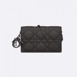 Dior Black Ultramatte Lady Dior Nano Pouch Bag