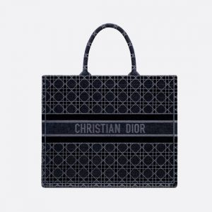 Dior Blue Cannage Velvet Book Tote Bag