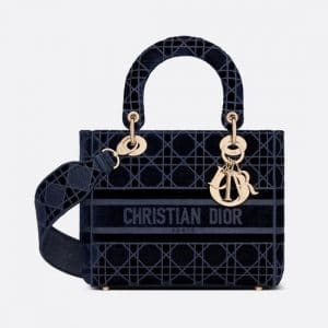 Dior Blue Cannage Velvet Medium D-Lite Bag