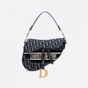 Dior Blue Oblique Embroidered Velvet Saddle Bag