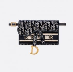 Dior Blue Oblique Embroidered Velvet Slim Saddle Pouch Bag