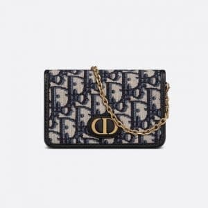 Dior Blue Oblique Jacquard 30 Montaigne Nano Pouch Bag