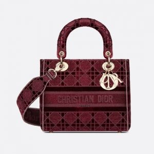 Dior Bordeaux Cannage Velvet Medium D-Lite Bag