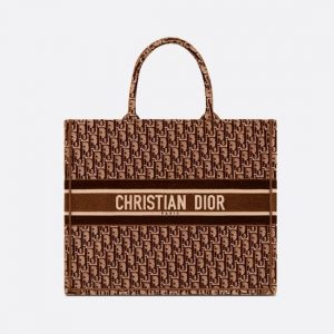 Dior Brown Oblique Embroidered Velvet Book Tote Bag