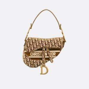 Dior Brown Oblique Embroidered Velvet Saddle Bag